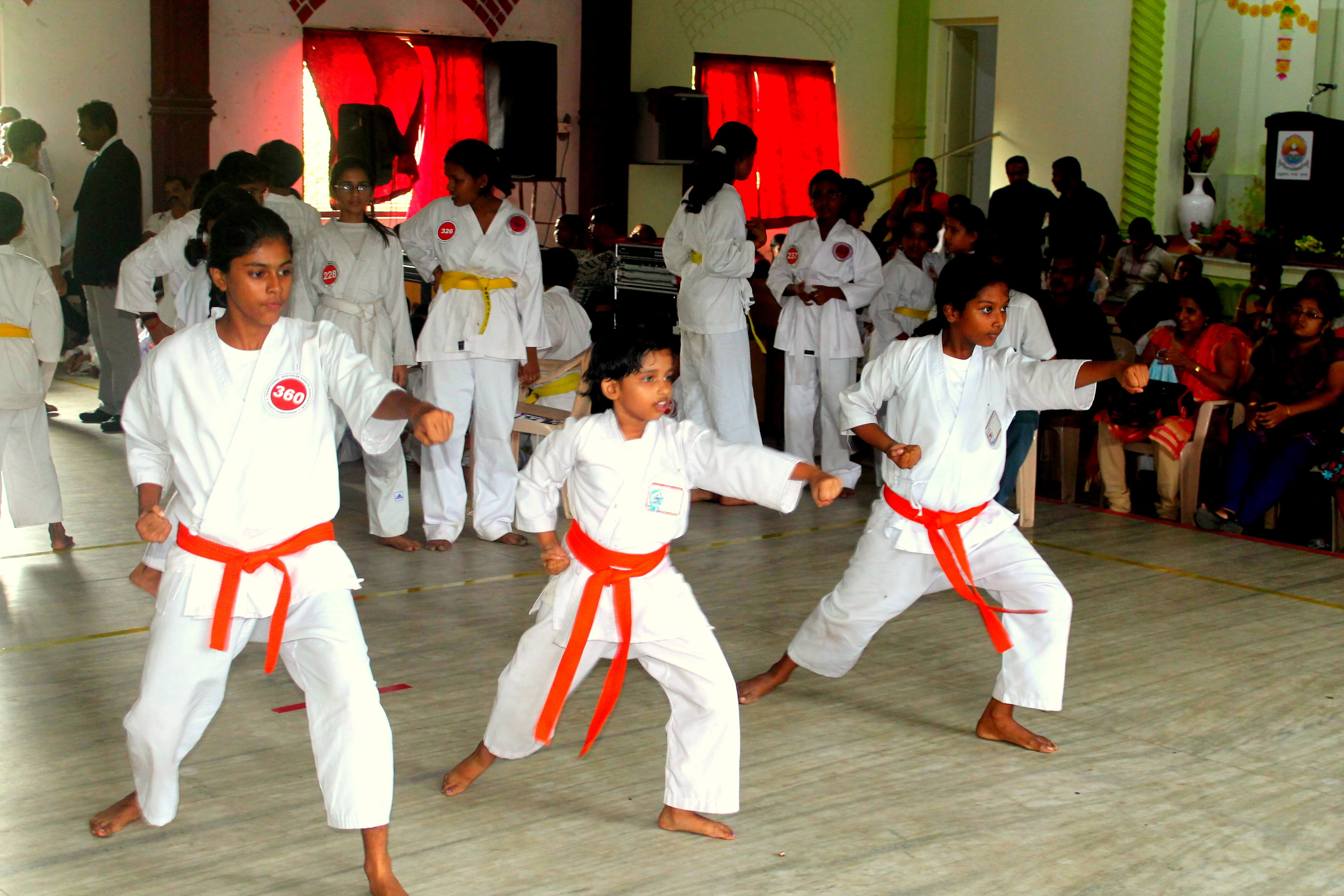 Christeena, Mini, Anagha, Group Kata Second - Senior Girls