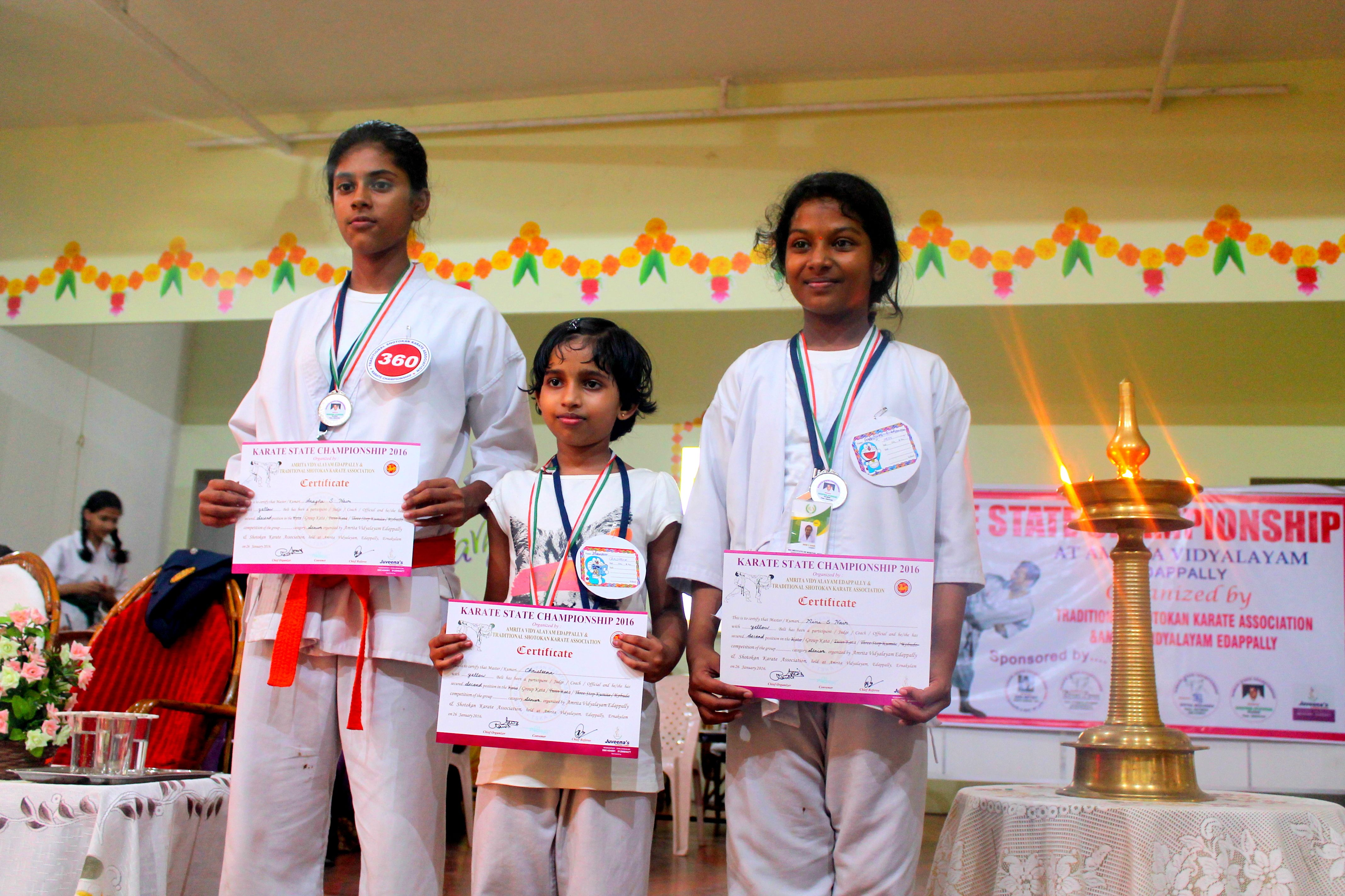 Silver Medal Awarding to Mini, Anagha, Christeena